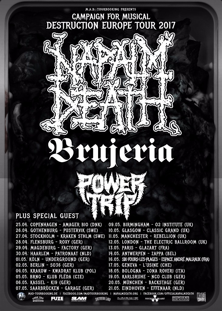 Tourplakat Napalm Death Tour 2017