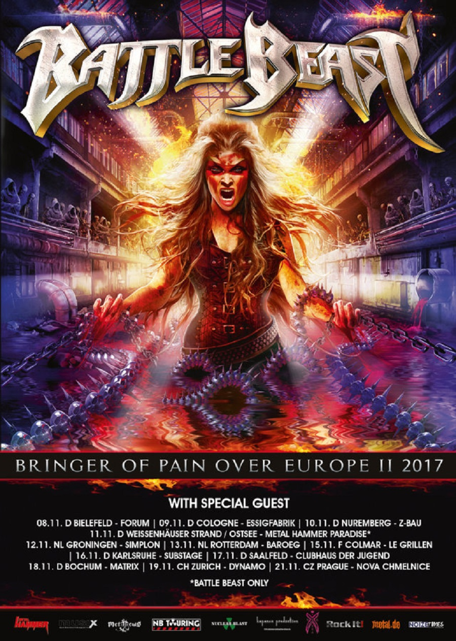 Bild Battle Beast Bringer Of Pain Over Europa II 2017 Tourposter
