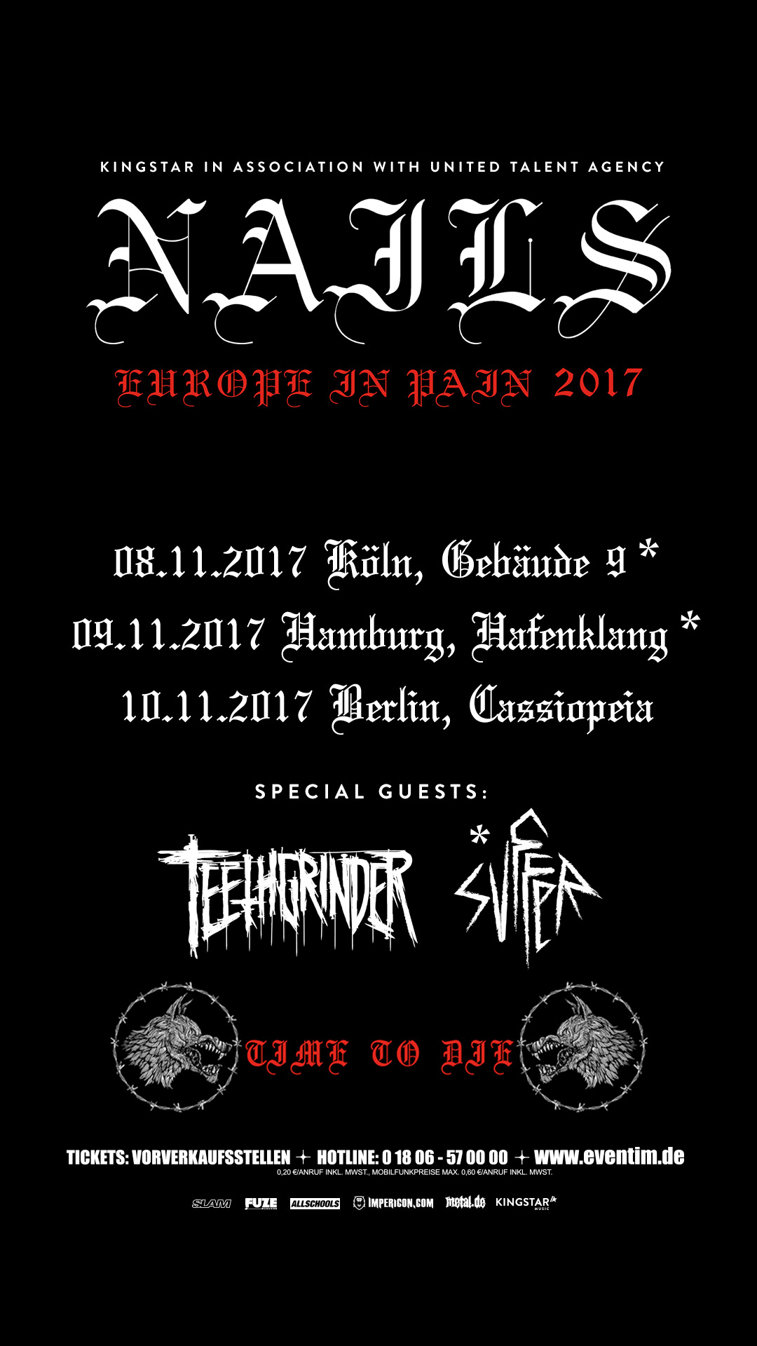 Nails - Tourplakat Europe in Pain 2017