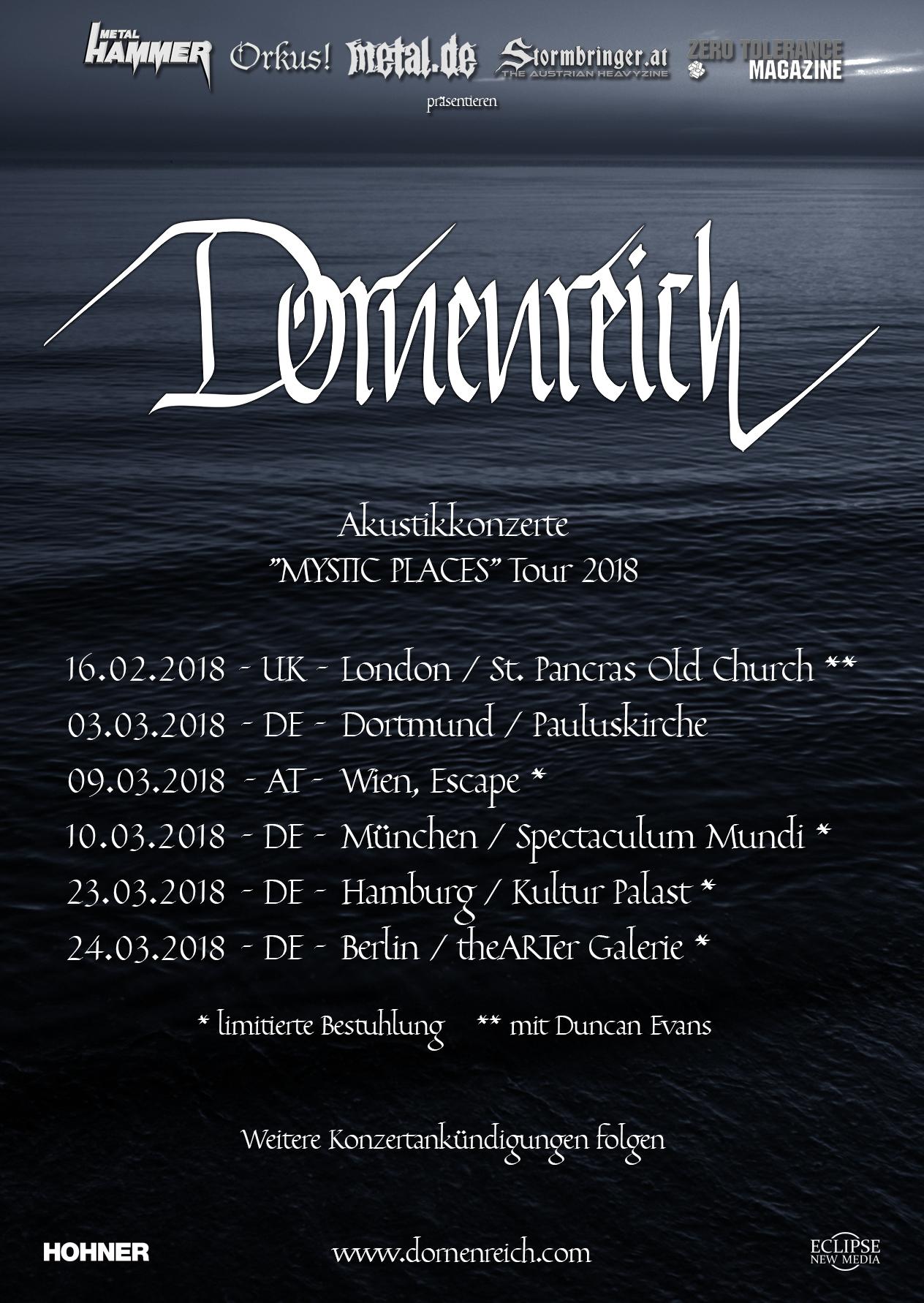 """Tourplakat Dornenreich """"MYSTIC PLACES""""-Akustik-Tour 2018"""