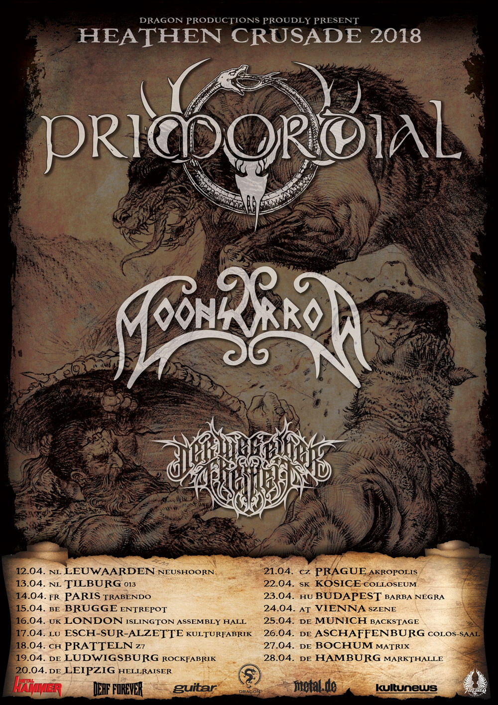 Primordial & Moonsorrow - Heathen Crusade 2018 Tourposter