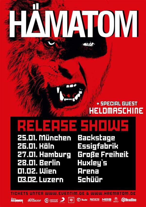 Tourplakat Hämatom Release Shows 2018