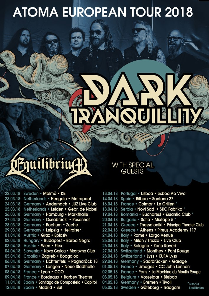 Tourplakat Dark Tranquillity Atoma European Tour 2018