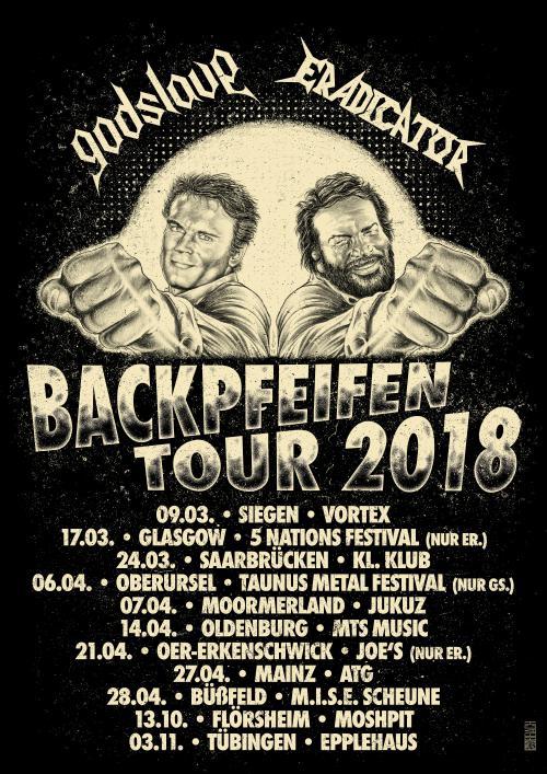 Tourplakat von Godslave und Eradicator - Backpfeifentour 2018
