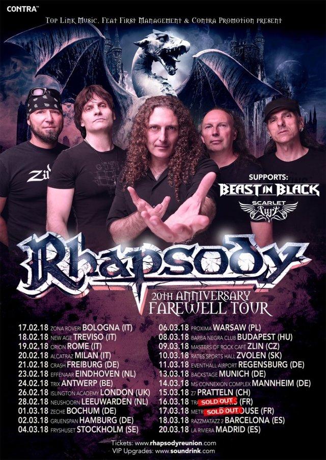 Tourplakat Rhapsody auf 20th Anniversary Farewell Tour 2018